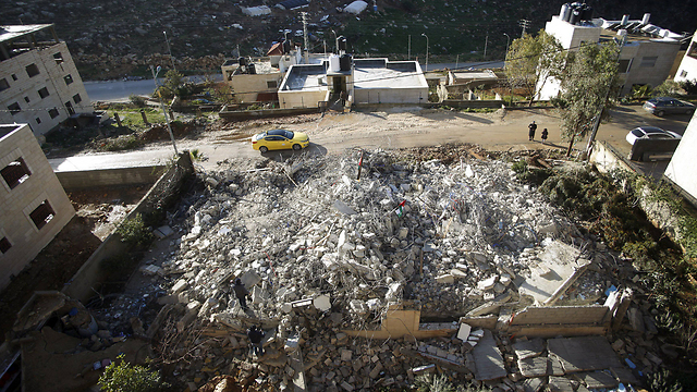 Ruins of house where a terrorist who murdered two Israelis lived (Photo: Reuters)