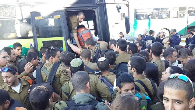 המאבק על מקום באוטובוס (צילום: רועי עידן) (צילום: רועי עידן)