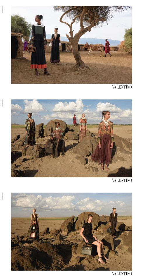 נשים וגברים משבט המאסי כתפאורה אקזוטית. ולנטינו (צילום: סטיב מק'קורי )