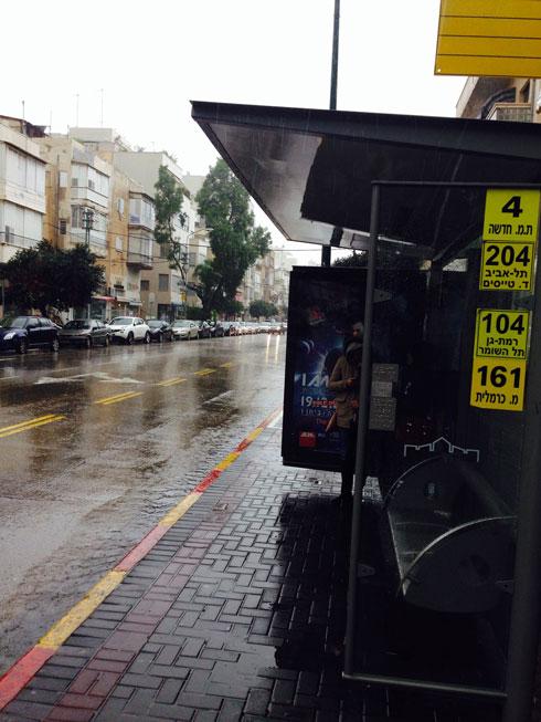 מצאו את ההבדלים: תחנת אוטובוס בתל אביב בגשם (צילום: איתי כ''ץ)