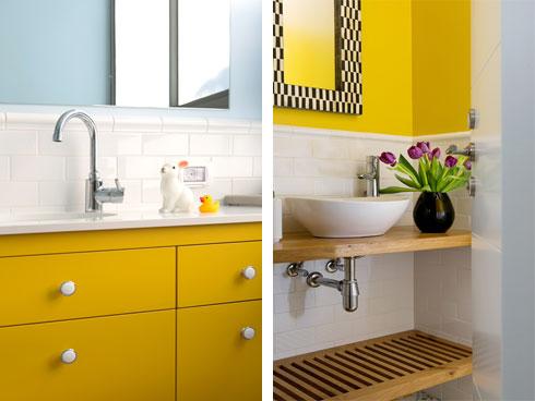 צבעוניות דומה בשירותי האורחים (מימין) ובחדר הרחצה המשמש את הילדות (צילום: שירן כרמל)