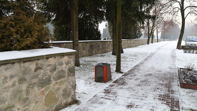The wall made out of old gravestones in Ostrowiec (Photo: Courtesy of Meir Bolka)