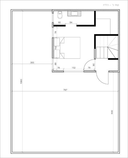 תוכנית קומת הגג: יחידת הורים ומרפסת גדולה (באדיבות גילי אונגר )