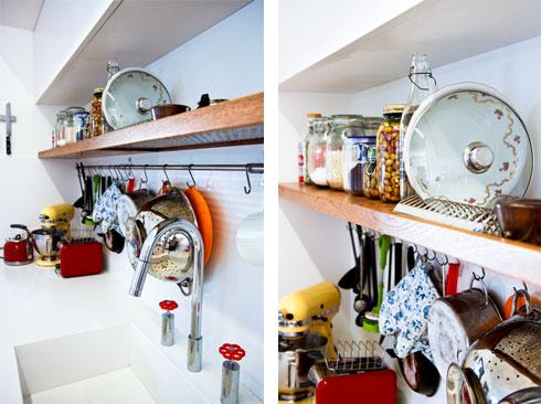 מדף שבו שולב מתקן לייבוש כלים (צילום: אסי אורן)