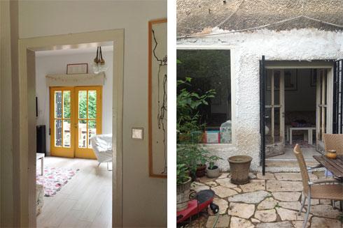 החצר והסלון לפני השיפוץ (באדיבות אדריכלית ליאת מילר)