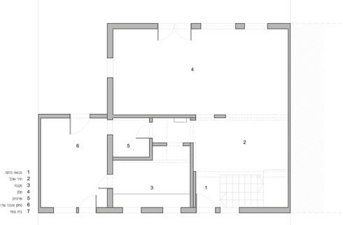 תוכנית קומת הכניסה לפני השיפוץ (באדיבות אדריכלית ליאת מילר)