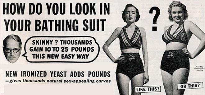 פרסומת לעלייה במשקל, 1965-1950