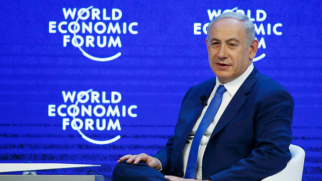 Prime Minister Benjamin Netanyahu speaking at the World Economic Forum in Davos (Photo: Reuters)