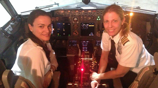 Shechter and Schwartz in the cockpit.