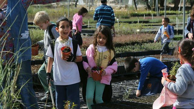 Children pick a tree to plant at the Eshta'ol nursery (Photo: Yossi Zamir, KKL)