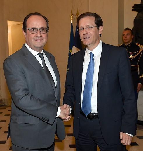 הרצוג בפגישתו עם נשיא צרפת בסוף השבוע (צילום: ארז ליכטפלד) (צילום: ארז ליכטפלד)