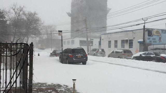 שלג כבד גם בקווינס (צילום: יואב שריקי ) (צילום: יואב שריקי )
