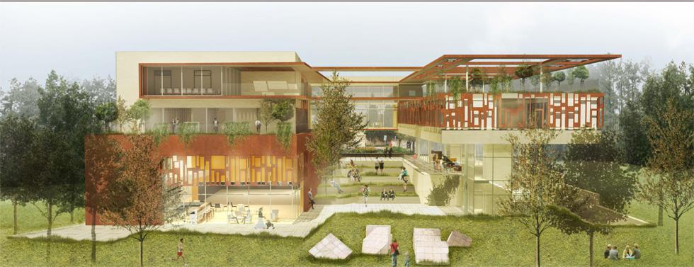 ההצעה הזוכה בתחרות של קרן ירושלים, של משרד האדריכלים סלמה מילסון ארד ואבנר סימון, נקראת ''שער לגן'' (באדיבות ארד סימון אדריכלים ומתכנני ערים, ירושלים)