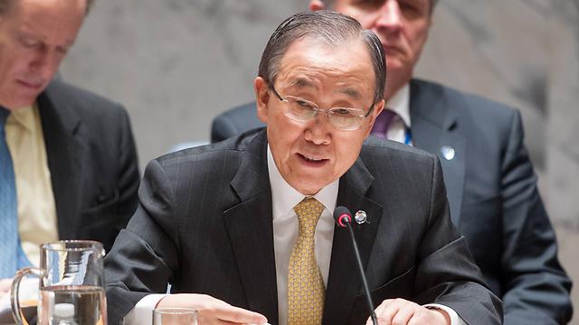 באן קי מון בדיון על המזרח התיכון במועצת הביטחון בשבוע שעבר (צילום: AFP) (צילום: AFP)