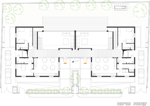 תוכנית קומת הכניסה. שני אגפים זהים (תוכנית: אדריכלית נעמה שבתאי-ציזר)