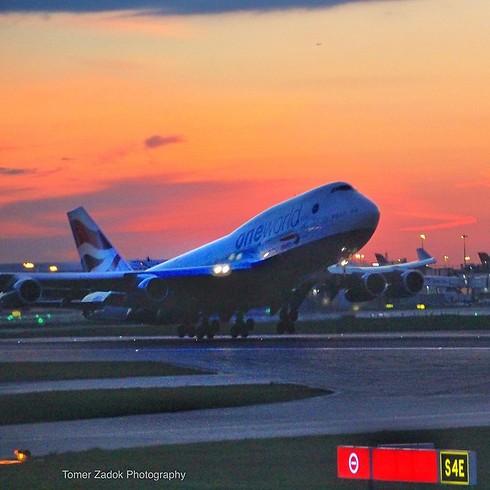 בואינג 747 ממריא מלונדון (צילום: תומר צדוק) (צילום: תומר צדוק)