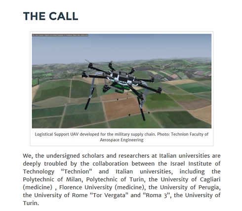 The Italian call for an academic boycott of Israel
