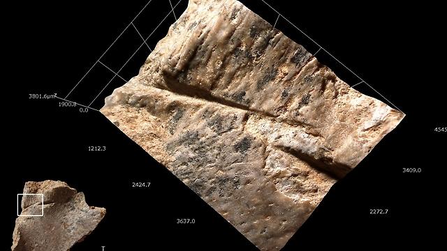 """סימני חיתוך שנעשו בעזרת כלי צור על חלק מהפן השטוח של שריון צב ממערת קסם. צילום במיקרוסקופ אלקטרוני סורק ומודל תלת מימדי במיקרוסקופ אלקטרוני (צילום: ד""""ר רות בלסקו, המכון הלאומי לחקר האבולוציה של האדם, ספרד) (צילום: ד"""