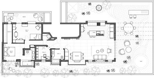 תוכנית הדירה. דלת הכניסה נמצאת מול חדר הרחצה. לימינה (בחלק השמאלי של התוכנית) נמצאים החדרים הפרטיים, ולשמאלה (בחלק הימני של התוכנית) המטבח, הסלון ופינת האוכל (שירטוט: רועי זליחובסקי)