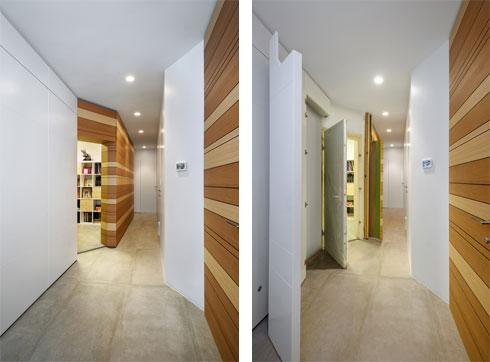 """דלת הממ""""ד פתוחה (מימין) וסגורה (משמאל). כל הדלתות במסדרון הזה מוטמעות בעומק הקיר (צילום: ארקדי רסקין ואלכס פרלמן)"""