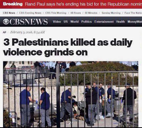 CBS headline on Jerusalem terror attack, before being changed. (Photo: Screenshot)