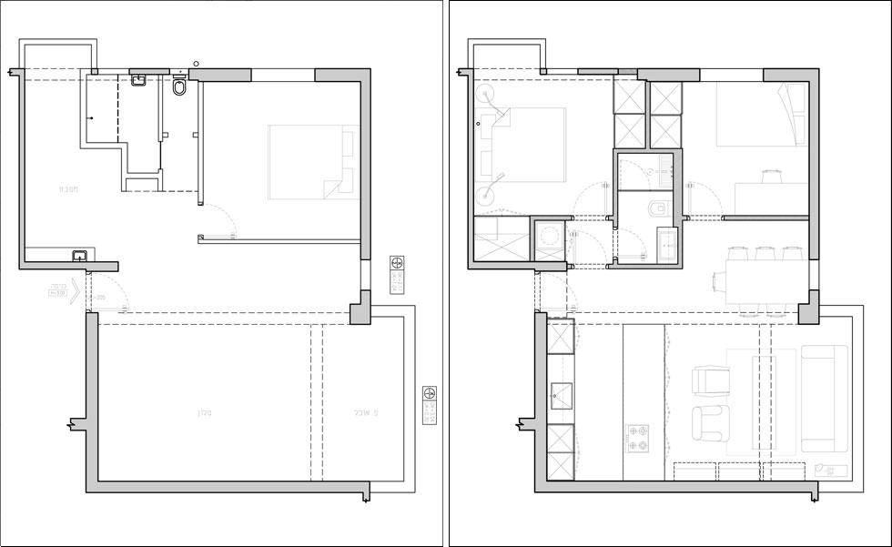 תוכניות הדירה, לפני השיפוץ (משמאל) ואחריו. דלת הכניסה קבועה במרכז הדירה, כך שהיא מחולקת בצורה נוחה וסימטרית. המטבח הועבר לתוך מרחב הסלון, ובמקומו תוכנן חדר השינה. חדר הרחצה אוחד עם השירותים והוזז ללב הדירה, כך שנוצר מעין גרעין פנימי שכולל גם שני ארונות גדולים (שירטוטים: ספארו אדריכלים)