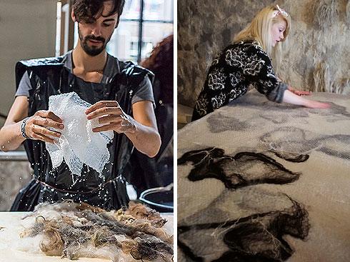 שלבים בסדנת הליבוד בסטודיו של ביאטריס ונדרס (''The Soft World'') (צילום: באדיבות Crafts Council Nederland)