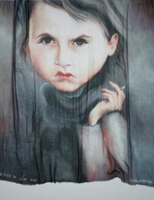 """""""לא הייתי עושה משהו שיכול להזיק לאמנות שלי"""". צעיף משיתוף הפעולה של הוד ויגאל עזרואל (באדיבות Paul Kasmin Gallery , NY )"""