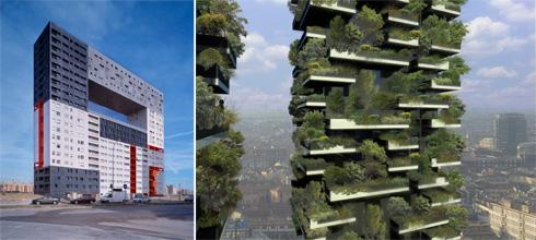 עוד שתי אסוציאציות מיידות לפרויקט החדש: מימין, מגדלי היער האנכי Bosco Verticale עתירי העצים במרפסות בפרויקט של סטפנו בוארי במילאנו; משמאל, רחוב עילי בפרויקט הדיור בר ההשגה של משרד MVRDV בהולנד (באדיבות mvrdv צילום: Boeri Studio)