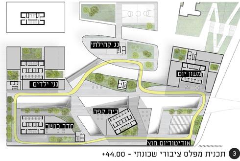 הרחוב העילי מעל קומות הבסיס (הפודיום) ייראה כך (הדמיה: קימל אשכולות אדריכלים)