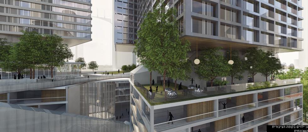החידוש הוא שני רחובות עיליים: האחד מעל קומות המסחר, והשני בשחקים - מעל קומות המשרדים ומתחת למגורי היוקרה (הדמיה: קימל אשכולות אדריכלים)