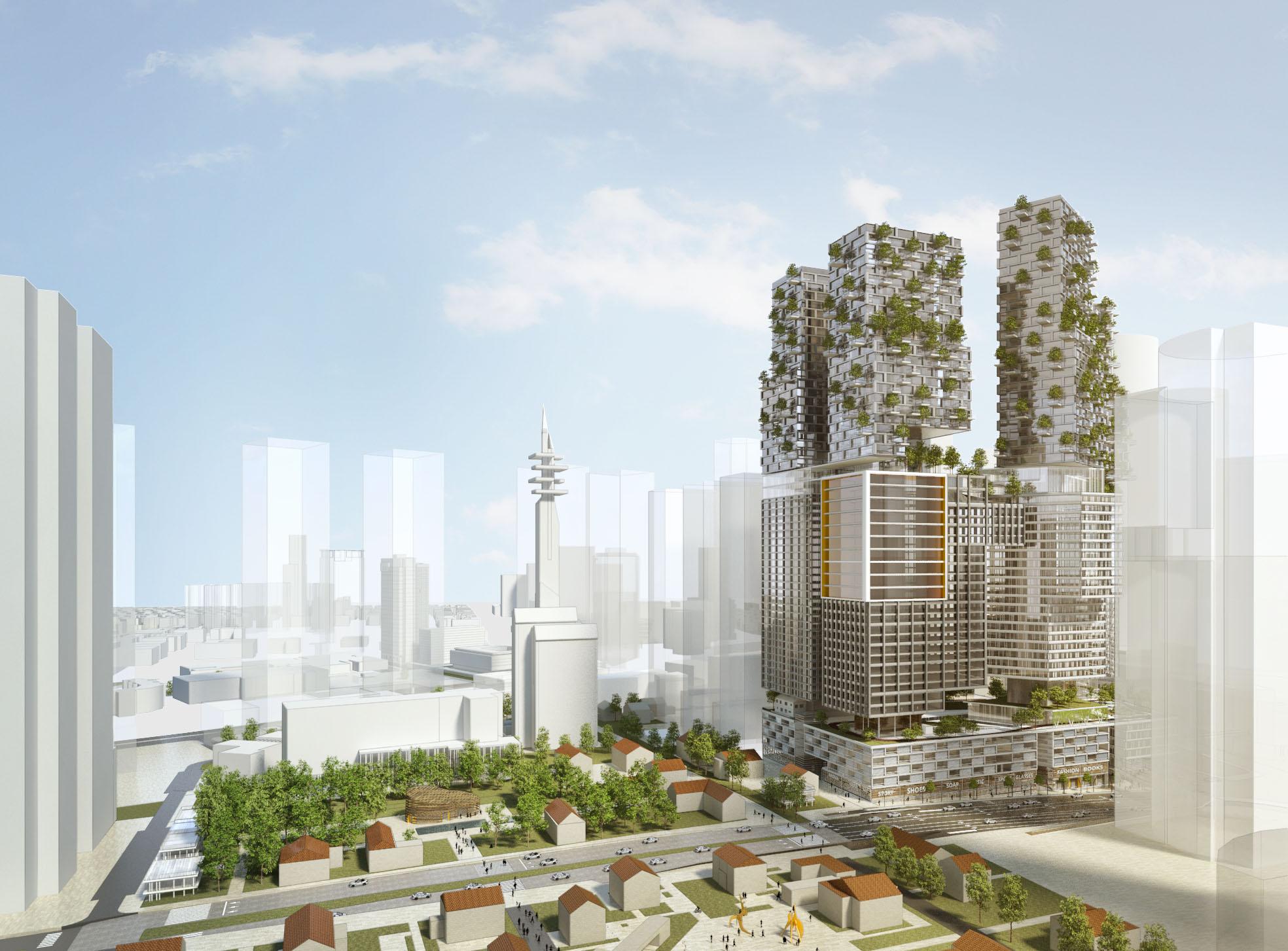 ממזרח: מתחם המגדלים שיכלול מגורים זולים ויקרים, מסחר, משרדים, מלון ומבני ציבור לתושבים. משמאל: פארק לאורך רחוב קפלן (הדמיה: קימל אשכולות אדריכלים)