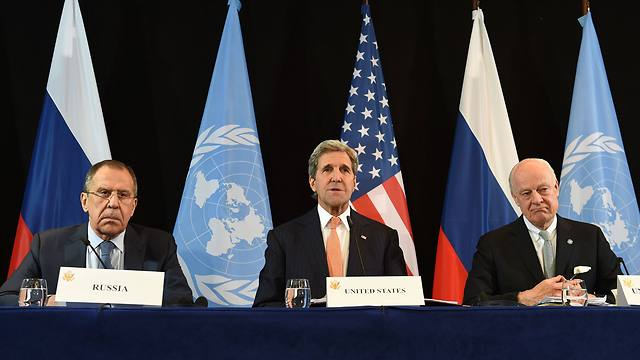 Sergei Lavrov, John Kerry, and UN Envoy to Syria Staffan de Mistura (Photo: AFP)
