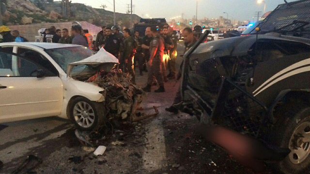 Scene of the vehicular attack near Ma'ale Adumim