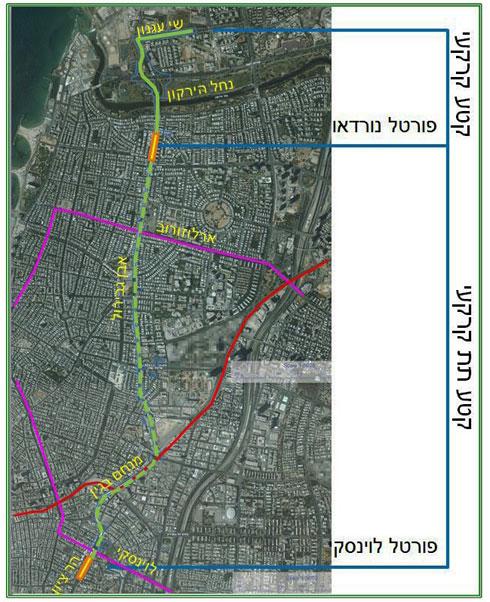 """מסלולי הקו הירוק והסגול בתוך ת''א - עילי ותת-קרקעי (באדיבות נת""""ע)"""