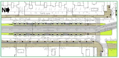 """הפורטל ברחוב אבן גבירול. בעברית: שיקוע של הרחוב שדרכו תצא ותיכנס הרכבת (באדיבות נת""""ע)"""