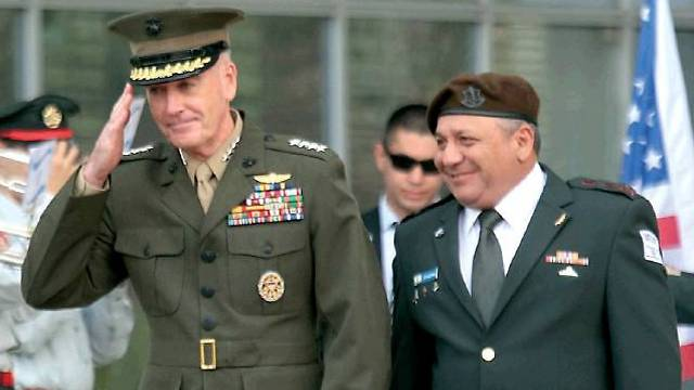IDF chief Eisenkot, right, with General Joseph Dunford, the Chairman of the US Joint Chiefs of Staff (Photo: Yariv Katz)