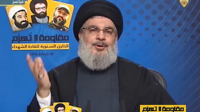 ארגון הטרור הלבנוני לצד הנשיא הסורי. חיזבאללה ()