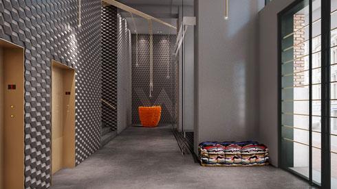 קומת הכניסה. רצפת בטון מוחלק, קירות של אריחים תלת ממדיים (הדמיה: רון אלון)