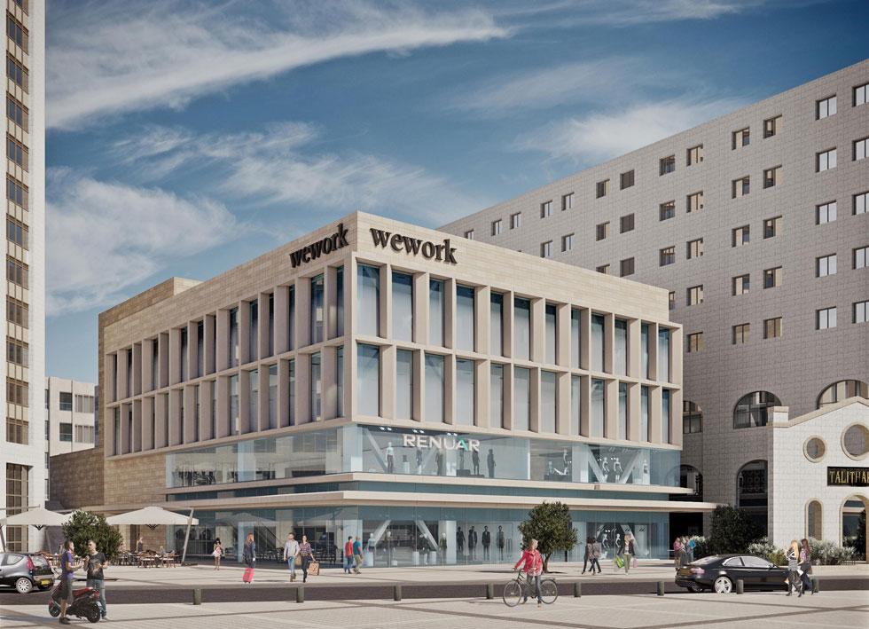 הדמיה של פרויקט WeWork  החדש, שצפוי להיפתח כבר בקיץ הקרוב.  המשרדים יתפסו את שתי הקומות העליונות, והתחתונות ייפתחו לרחוב וישמשו למסחר, בין השאר של חברות אופנה. בקומת המרתף ימשיך לפעול המרכול הקיים בו היום (הדמיה: 3dvision)