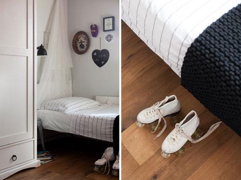 על רצפת חדרי השינה: פרקט אלון טבעי  (צילום: שירן כרמל)