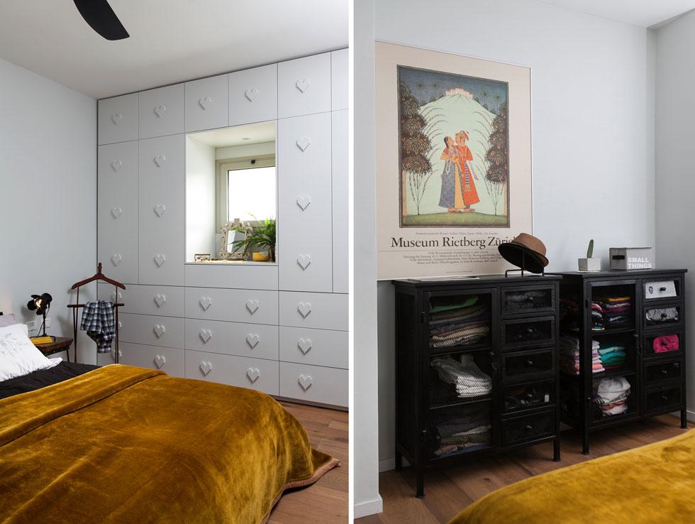 מוטיב האהבה והלב מופיע בפריטים רבים, בהם ארון הקיר בחדר השינה של ההורים, המעוטר בלבבות מפוקסלים המשמשים כידיות (צילום: שירן כרמל)