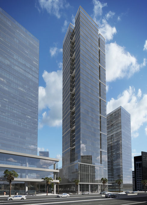 מגדל SKYTOWER, עם חזית חרוצה לכל גובהה. היזמית היא urban נדל''ן, שגיבשה קבוצת רכישה (הדמיה: VIEWPOINT)