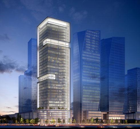 המגדל השני של ''אקרו נדל''ן'' במתחם, במקרה הזה כולו משרדים (הדמיה: STUDIO84)