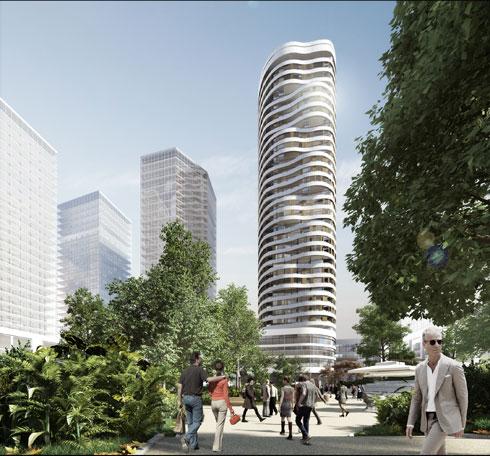 ''אקרו נדל''ן'' היא היזמית של מגדל ''אלפא'', שבו מתוכננות 18 קומות של מגורים ו-14 קומות של מלון (הדמיה: STUDIO84)