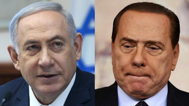 Prime Minister Benjamin Netanyahu (right) and former Italian President Silvio Berlusconi (Photo: AFP)
