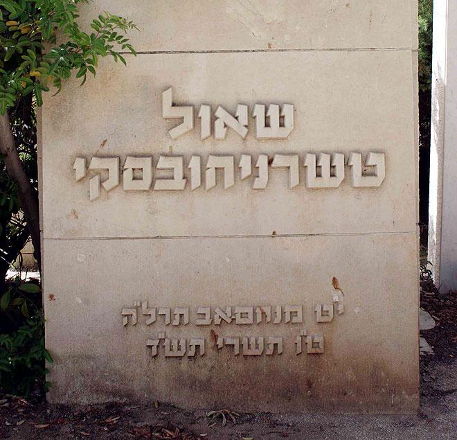 קבר שאול טשרניחבסקי בבית העלמין טרומפלדור בתל אביב. יפהפייה בת 17 כבשה את ליבו של המשורר בן ה-42. הקליקו על התמונה (צילום: עמית שאבי)