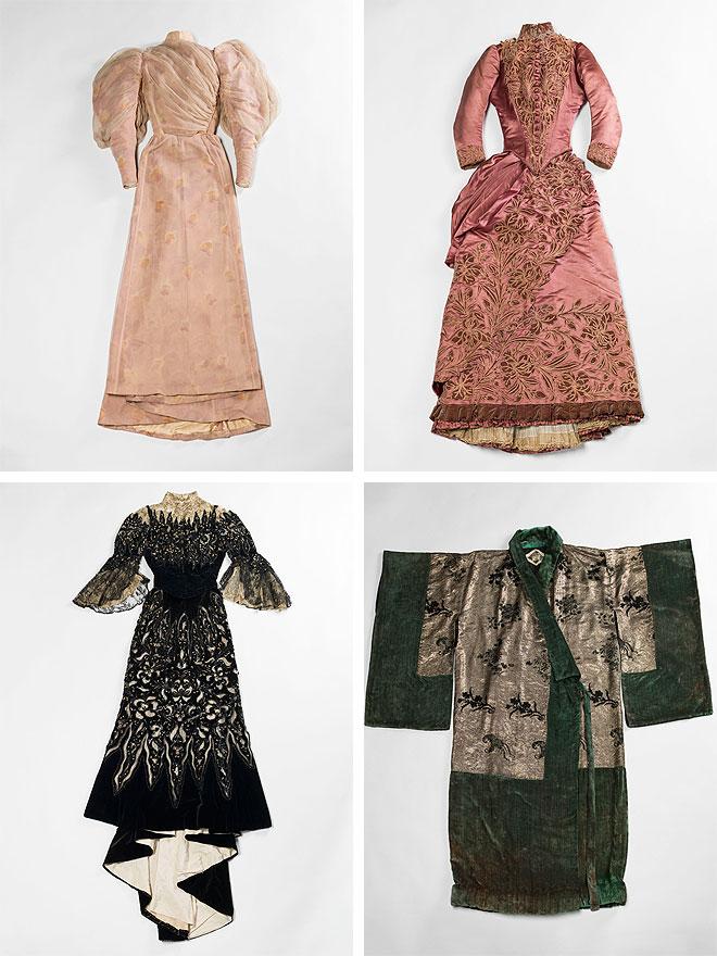 משמאל למעלה, עם כיוון השעון: שמלה למסיבת גן של Worth משנת 1894, שמלת יום של Soinard משנת 1887, מעיל ערב של Babani משנת 1920, שמלת ערב של Bauchez משנת 1900 (צילום: R. Briant et P. Ladet, Julien Vidal / Galliera / Roger-Viollet)