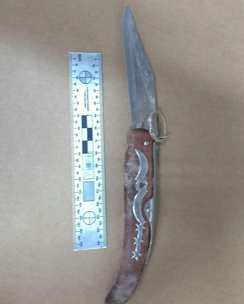 The knife used in the attack (Photo: Israel Police)