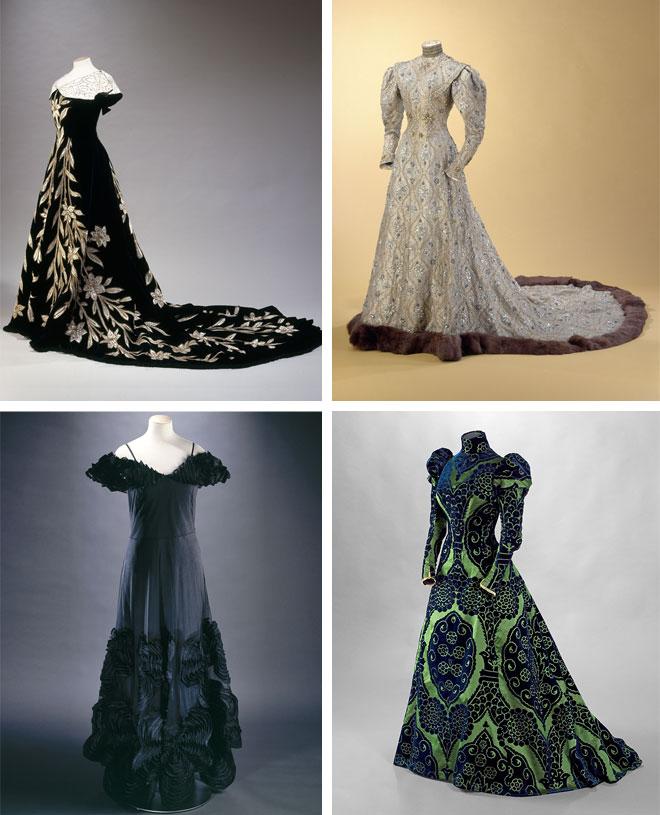 משמאל למעלה, עם כיוון השעון: שמלת ערב של Worth משנת 1896, שמלה ביזנטית של Worth משנת 1914, שמלת תה של Stéphane Piera, שמלת ערב של ז'אן לנבן משנת 1937 (צילום: L. Degrâces et Ph. Joffre, Stéphane Piera, P. Joffre et C. Pignol / Galliera / Roger-Violle)